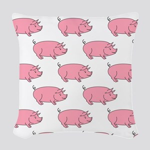 Field of Pigs Woven Throw Pillow