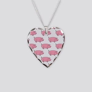 Field of Pigs Necklace Heart Charm