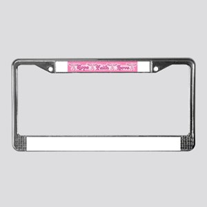 Breast Cancer Ribbons Wings License Plate Frame