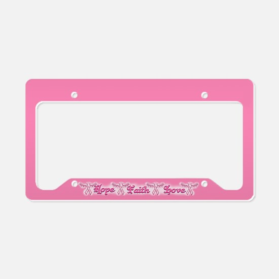 Breast Cancer Ribbons Wings License Plate Holder