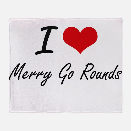 I Love Merry Go Rounds Throw Blanket