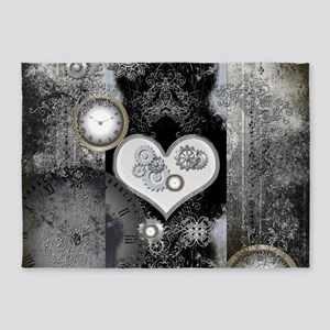 Steampunk, wonderful heart 5'x7'Area Rug
