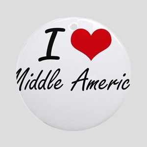 I Love Middle America Round Ornament