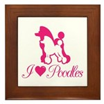 Pink Poodles Framed Tile