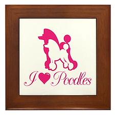 Pink Poodles Framed Tile