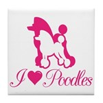 Pink Poodles Tile Coaster