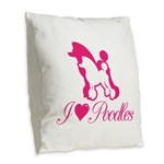 Pink Poodles Burlap Throw Pillow