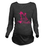 Pink Poodles Long Sleeve Maternity T-Shirt