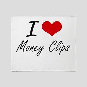 I Love Money Clips Throw Blanket