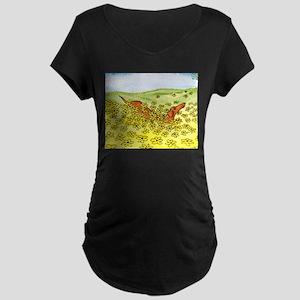 Spring Flowers Dachshund Maternity Dark T-Shirt