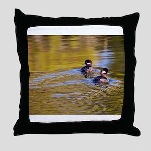 Bufflehead swimming Throw Pillow