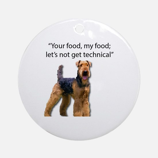 Funny Airedale terrier Round Ornament