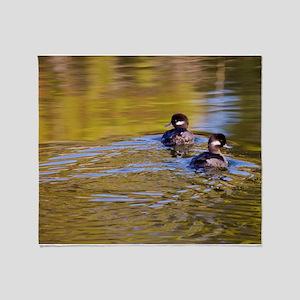 Bufflehead swimming Throw Blanket