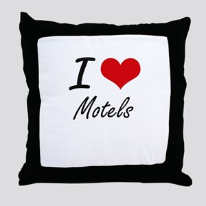 I Love Motels Throw Pillow