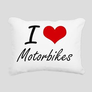 I Love Motorbikes Rectangular Canvas Pillow