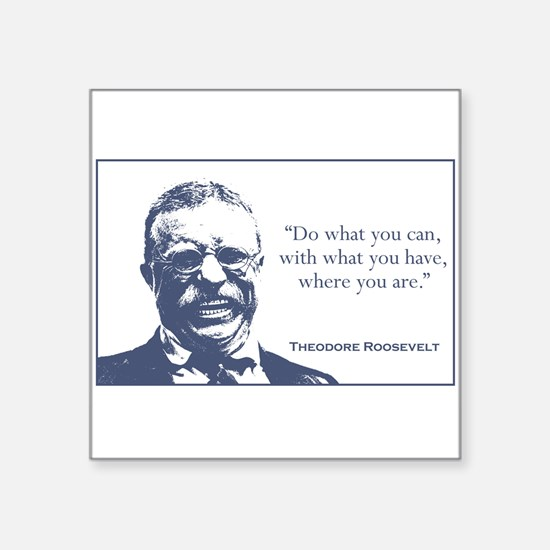 "Unique Teddy roosevelt Square Sticker 3"" x 3"""