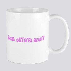 Real Estate Agent Pink Flower Design Mugs