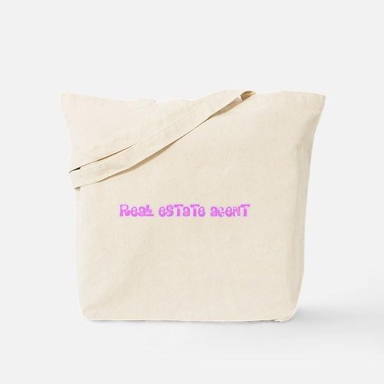Real Estate Agent Pink Flower Design Tote Bag