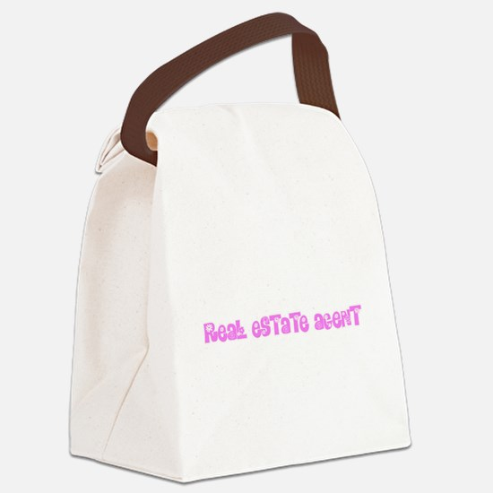 Real Estate Agent Pink Flower Des Canvas Lunch Bag