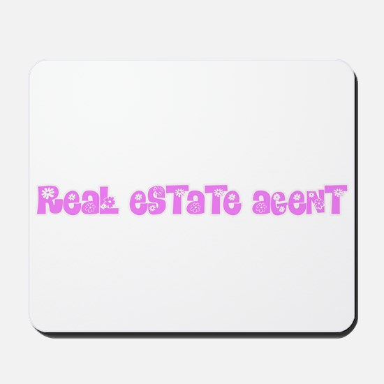 Real Estate Agent Pink Flower Design Mousepad