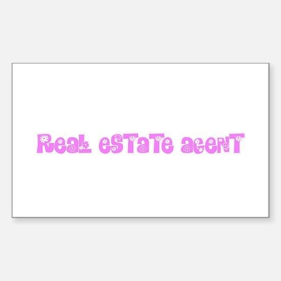 Real Estate Agent Pink Flower Design Decal