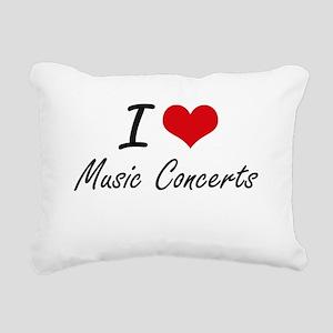 I Love Music Concerts Rectangular Canvas Pillow
