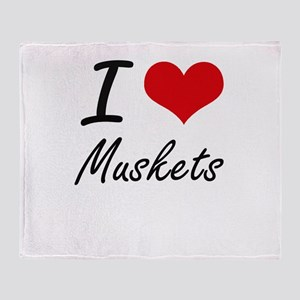 I Love Muskets Throw Blanket