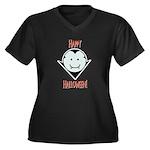 Count Smile Women's Plus Size V-Neck Dark T-Shirt