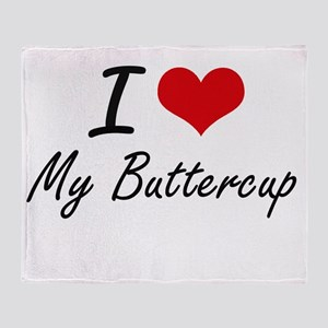 I Love My Buttercup Throw Blanket