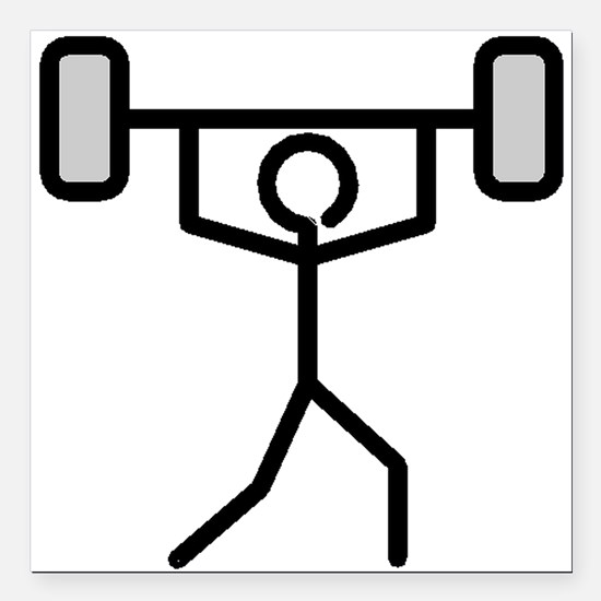 """Weightlifting Stick Figure Square Car Magnet 3"""" x"""