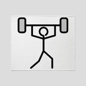 Weightlifting Stick Figure Throw Blanket