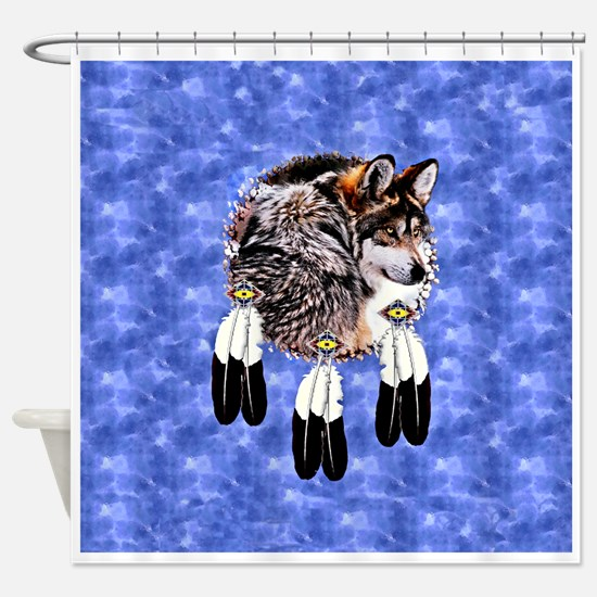 Eagle Feathers Wolf Shower Curtain