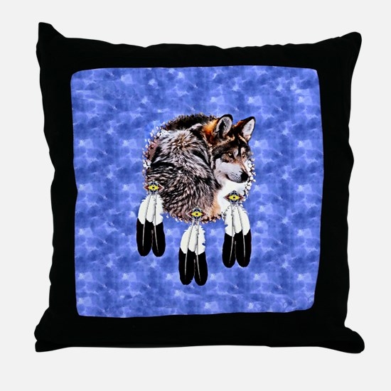 Eagle Feathers Wolf Throw Pillow