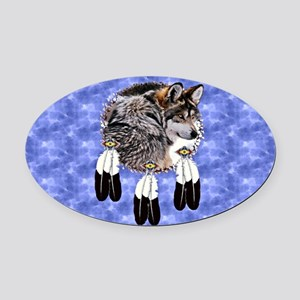 Eagle Feathers Wolf Oval Car Magnet
