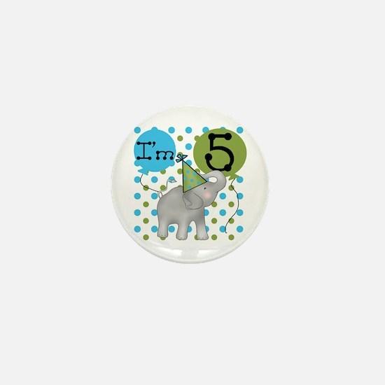 Elephant 5th Birthday Mini Button