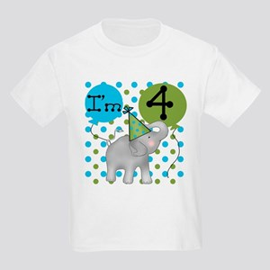 Elephant 4th Birthday Kids Light T-Shirt