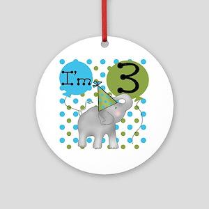 Elephant 3rd Birthday Ornament (Round)