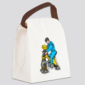 Man On Exercise Bike Canvas Lunch Bag
