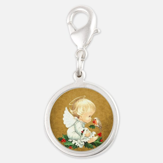ANGEL BABY Silver Round Charm