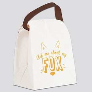 Ask me about my Fox (cute retro v Canvas Lunch Bag
