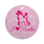 Poodle with stars background Round Ornament