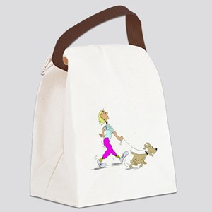 Walking The Dog Canvas Lunch Bag