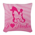 Poodles Woven Throw Pillow