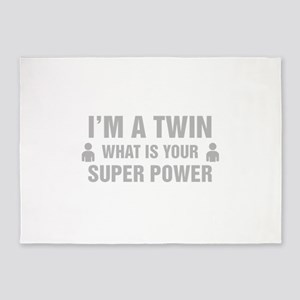 Im A Twin What Is Your Super Power 5'x7'Area Rug