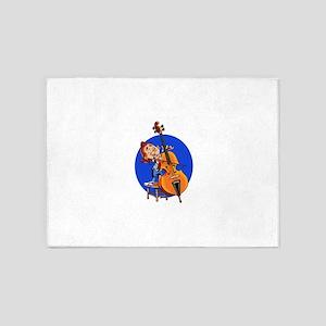 blue circle cartoon cello player 5'x7'Area Rug