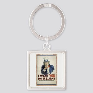 WWI US Army Uncle Sam I Want You Square Keychain