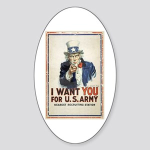 WWI US Army Uncle Sam I Want You Sticker (Oval)