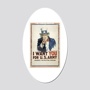 WWI US Army Uncle Sam I Want 20x12 Oval Wall Decal