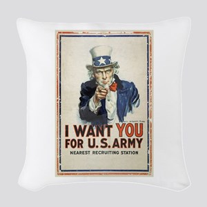 WWI US Army Uncle Sam I Want Y Woven Throw Pillow