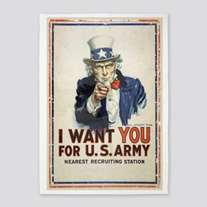 WWI US Army Uncle Sam I Want You 5'x7'Area Rug